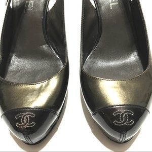 Chanel Patent Leather Sling Back Heels w/ Logo
